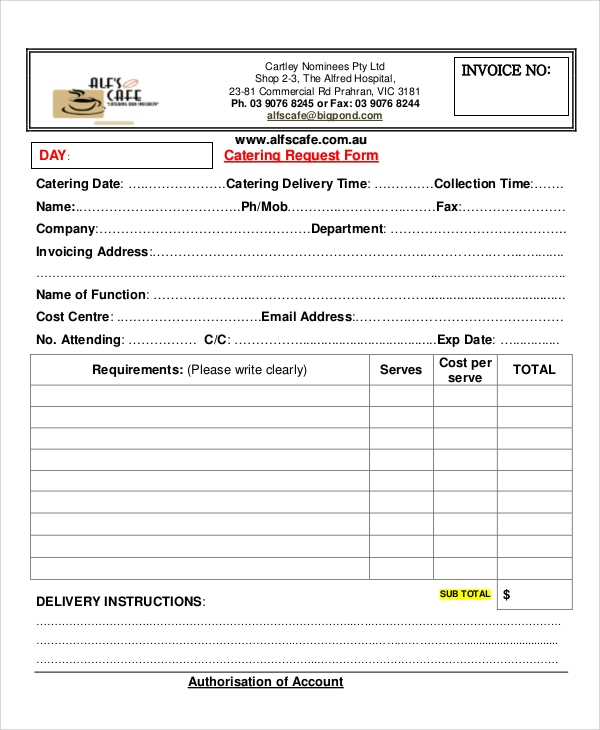 catering invoice request form