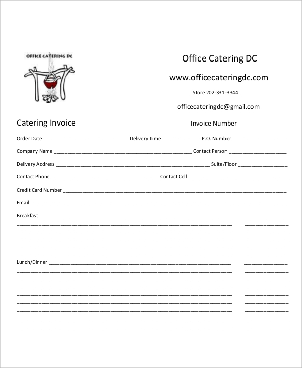 blank catering invoice