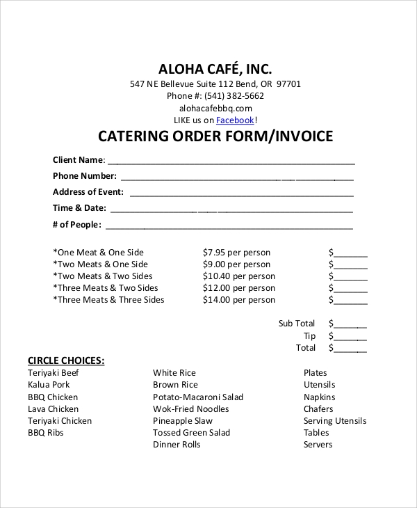 catering invoice form example