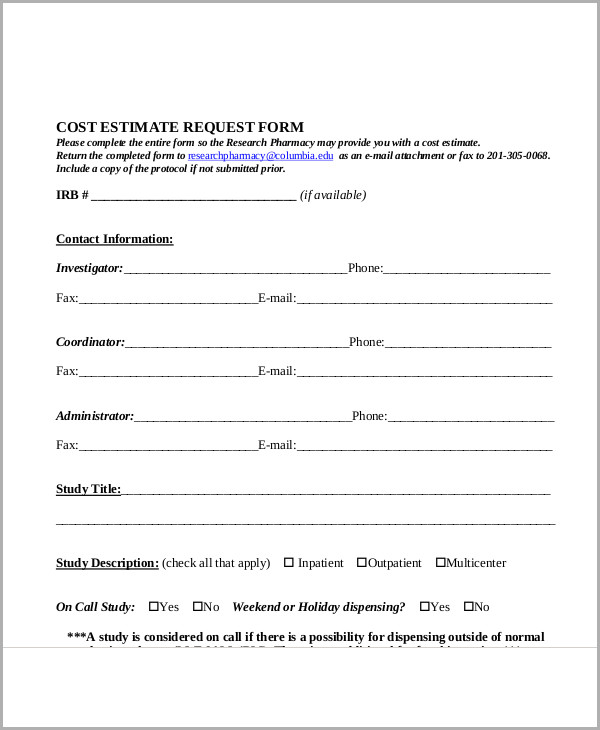 "Estimate Forms. You Can Download A Pdf Version Of The ""Basic Event"