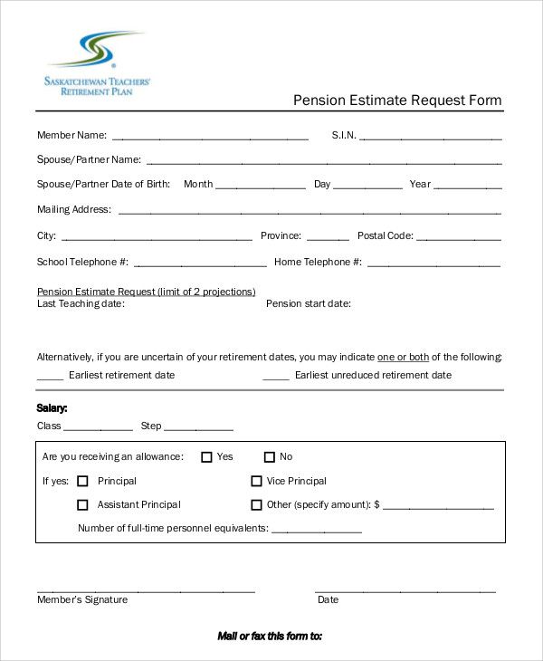 pension estimate request form