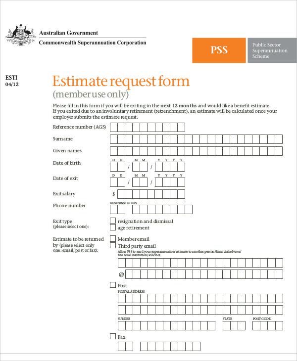 estimate request form