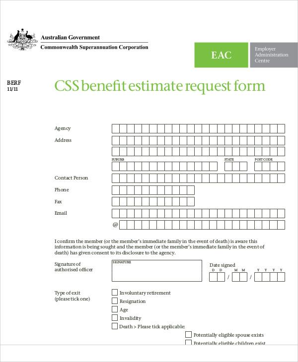 benefit estimate request form example