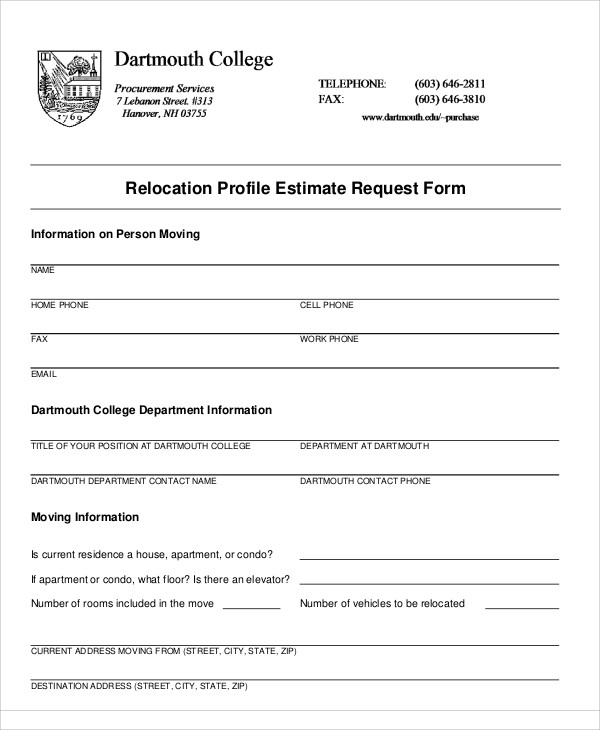 relocation profile estimate request form