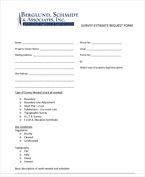 survey estimate request form