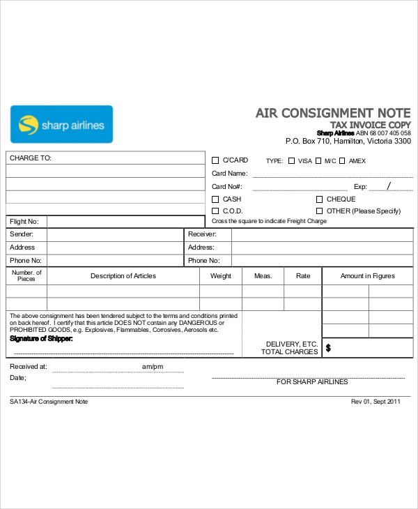 sample air consignment note