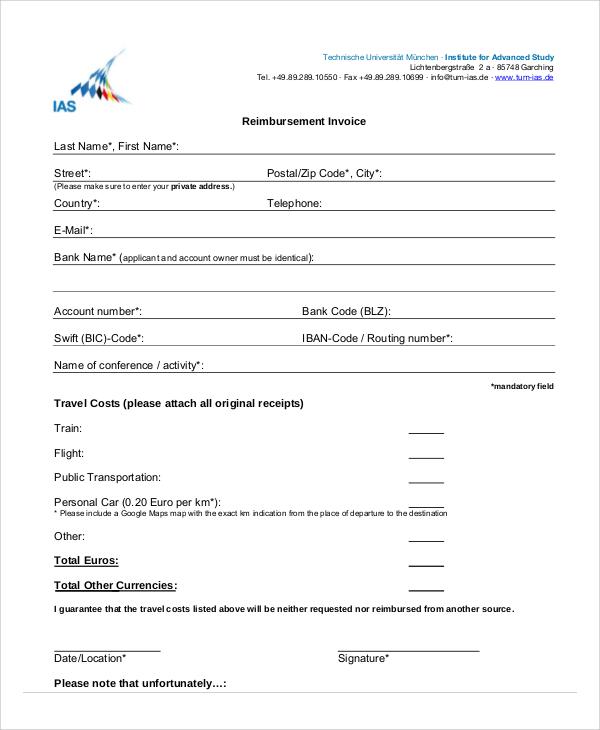 Hotel Reimbursement Invoice