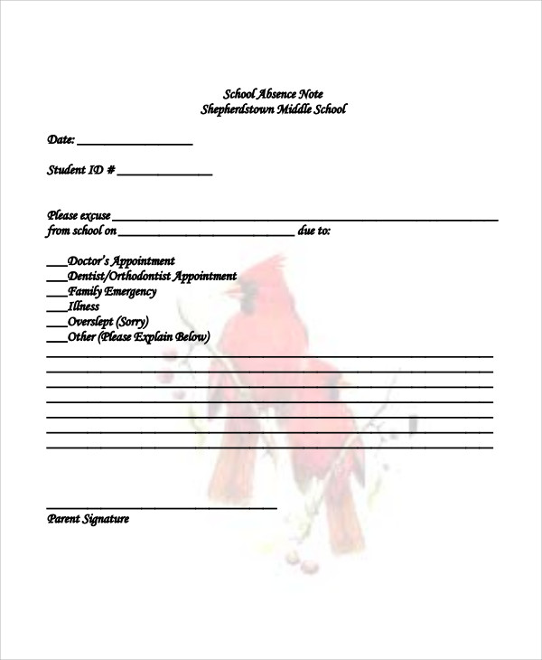 11 absence note samples sample templates sample school absence note thecheapjerseys Image collections