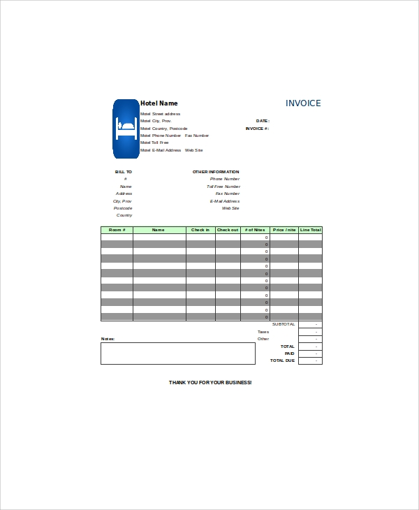 Sample Hotel Invoice 9 Examples In Pdf Word Exce