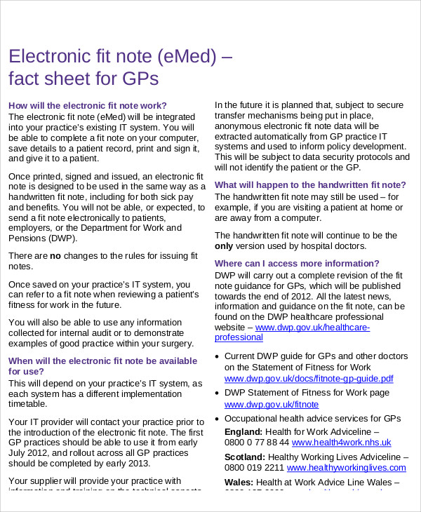 Doc547754 Fit Note sick note changes from April 6th 2010 how – Fit Note
