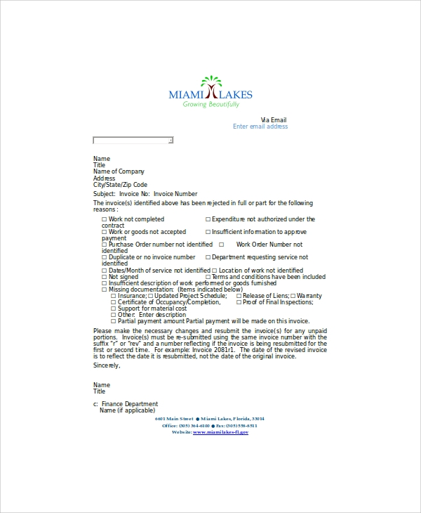 sample invoice letter