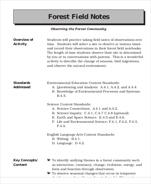 field note example Field (observational/descriptive fieldnotes) and (2) notes you take after you  ( like typing the reflective part of the notes on your computer at home, for example.