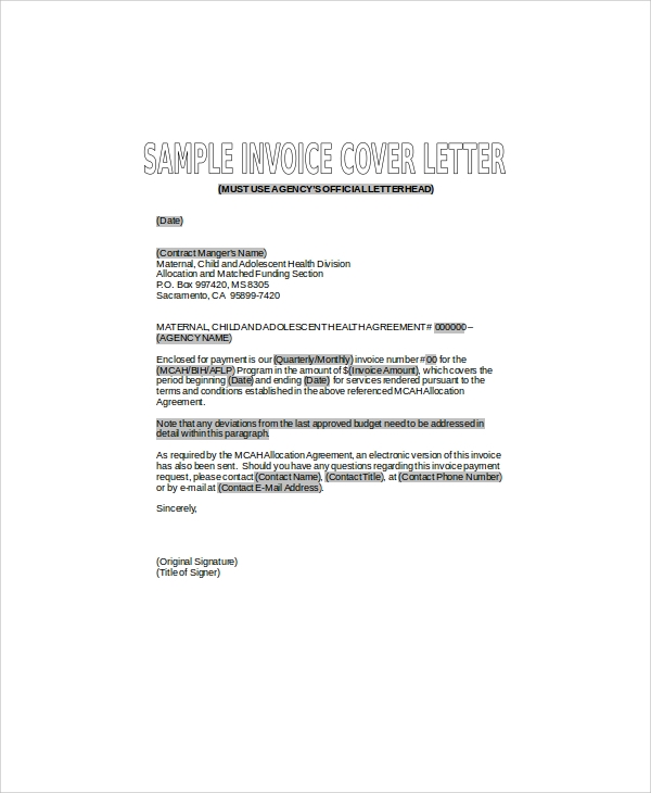 invoice cover letter in doc