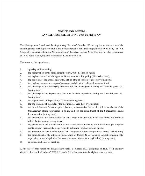 notice and agenda format