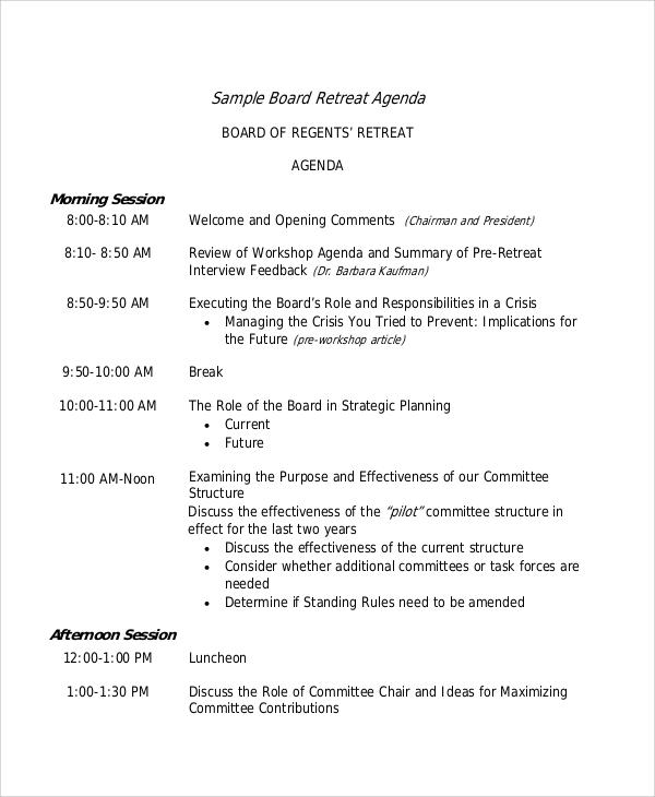 board retreat agenda