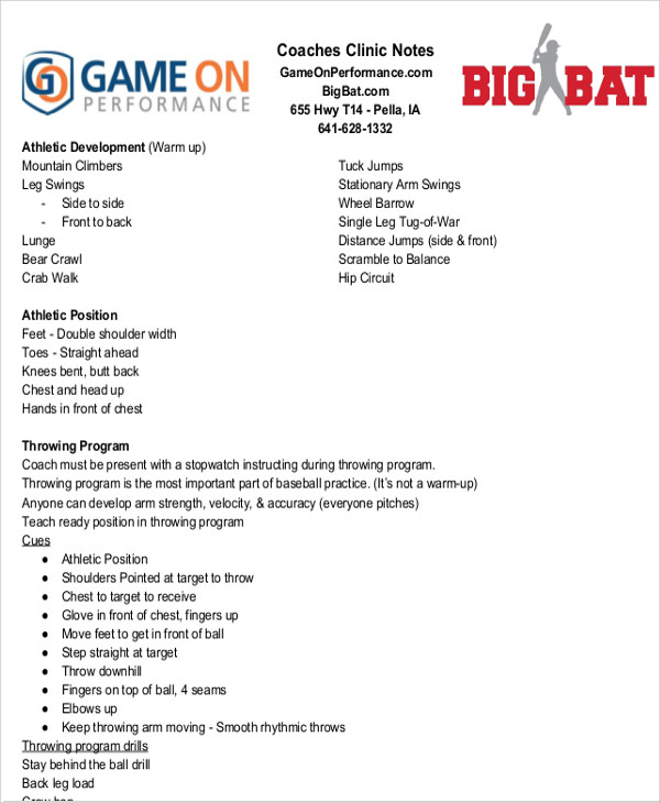 sample coaches clinic note