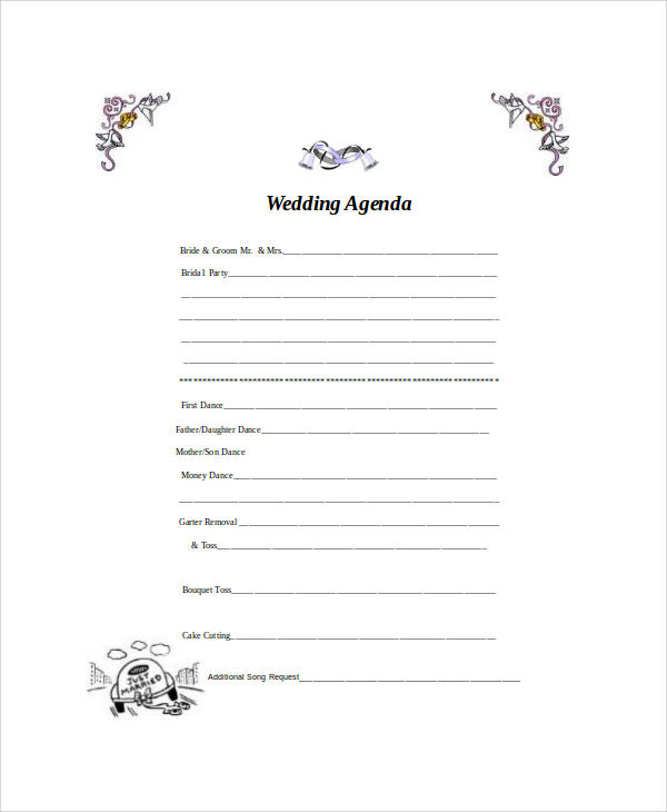 blank wedding agenda