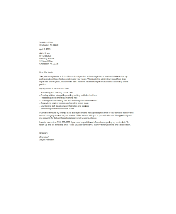 school receptionist cover letter sample