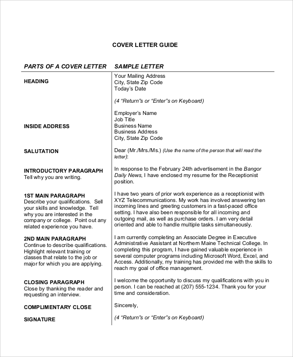 8 cover letter receptionist sample templates for Covering letter for receptionist role