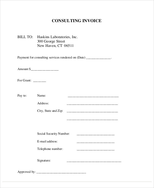 Sample Consulting Invoice  Free Sample Example Format Download