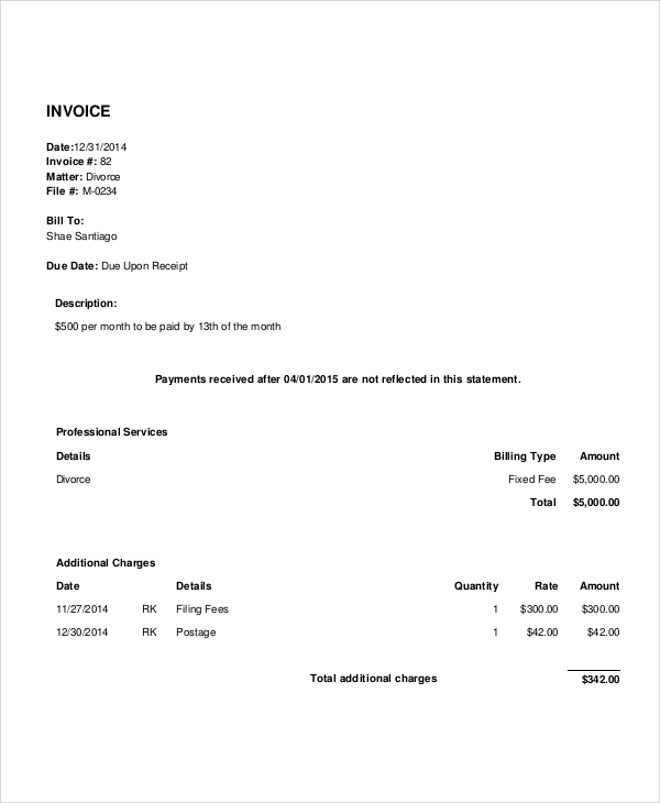 Sample Legal Invoice Examples In PDF Word - Attorney invoice template