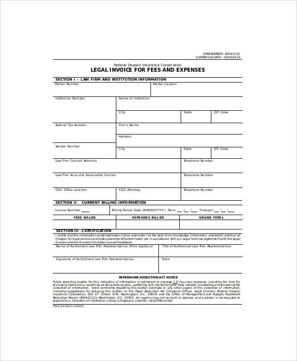 legal invoice in doc