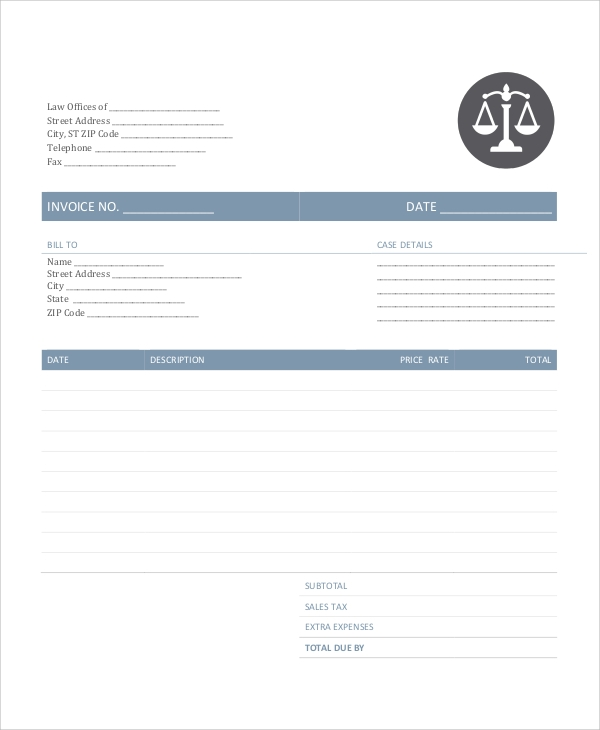 sample legal invoice 6 examples in pdf word