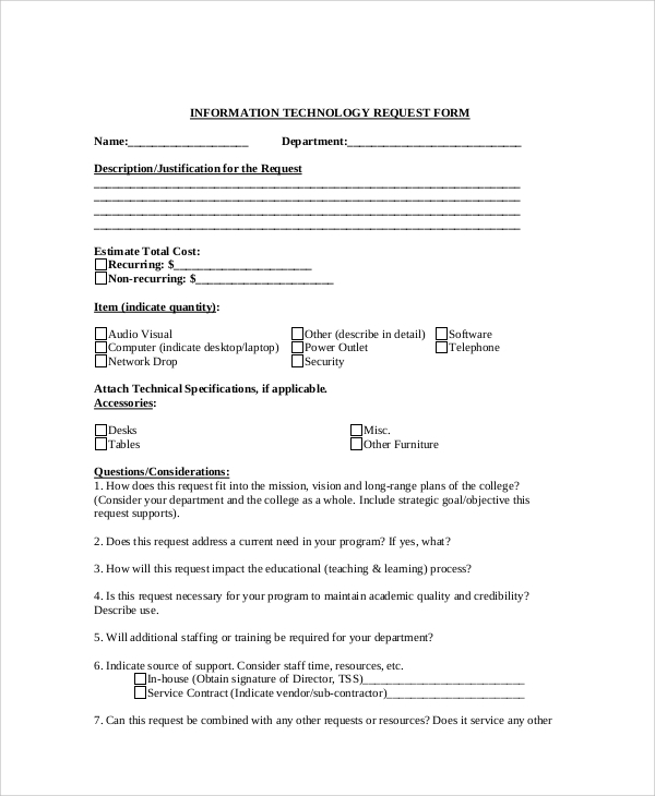 Sample Information Request Form   Examples In Word Pdf