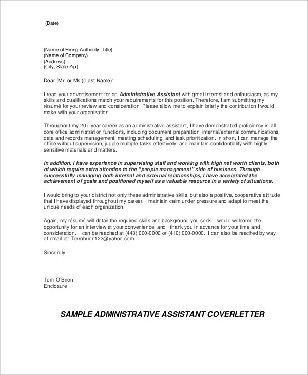 9 administrative cover letters sample templates for What to write in a cover letter for administrative assistant