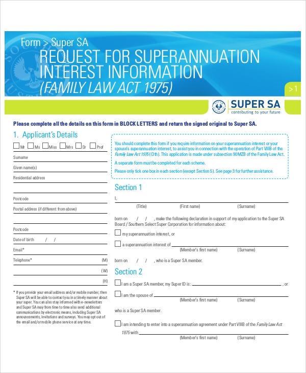 superannuation information request form