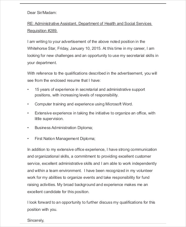 Business Administrative Cover Letter Example