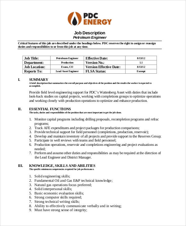 Petroleum Engineer Job Description Sample   6+ Examples In Word, Pdf