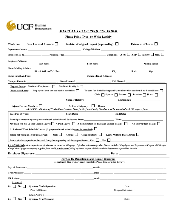 medical leave request form free