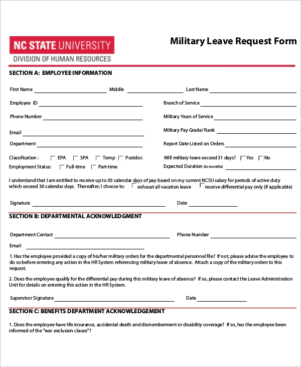 leave request form template 12  Sample Leave Request Form - Free Sample, Example, Format Download