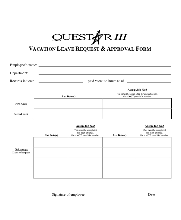 Sample Vacation Leave Form  Sample Vacation Request Form