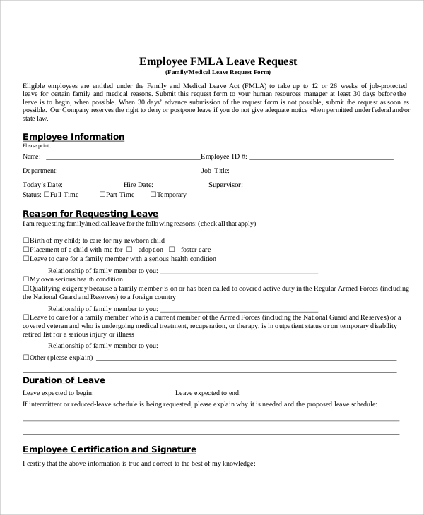 fmla leave request form