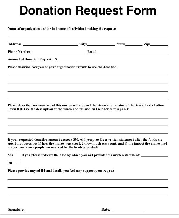 individual donation request form