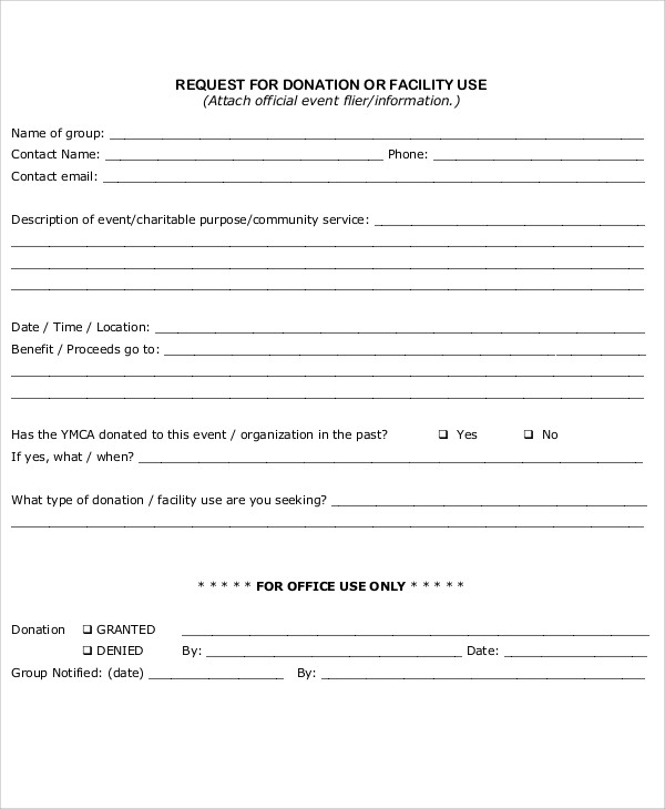 donation policy and request form