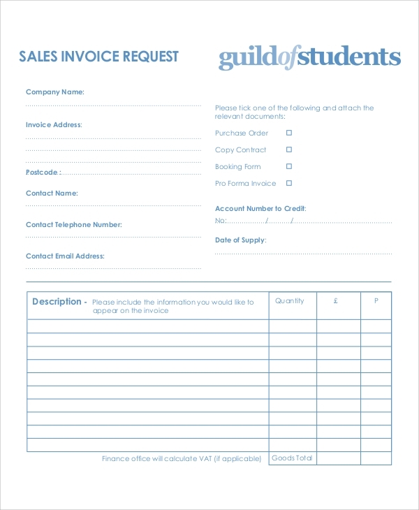 request for payment form template