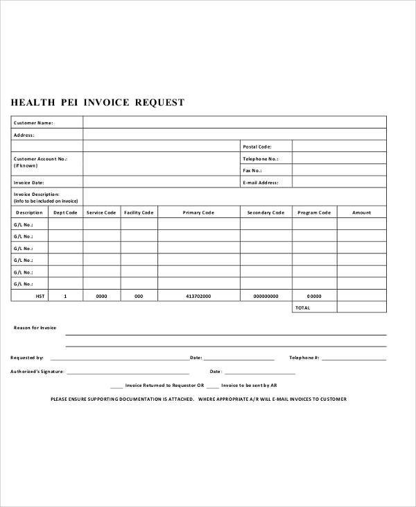 health invoice request form free