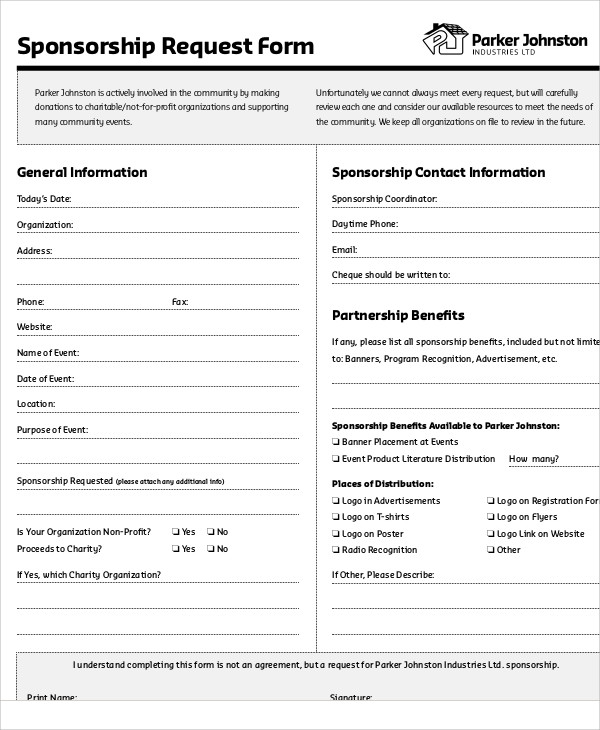 9 sample sponsorship request forms sample templates for Sponsor application template