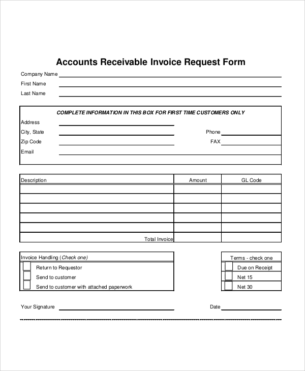 sample invoice request form