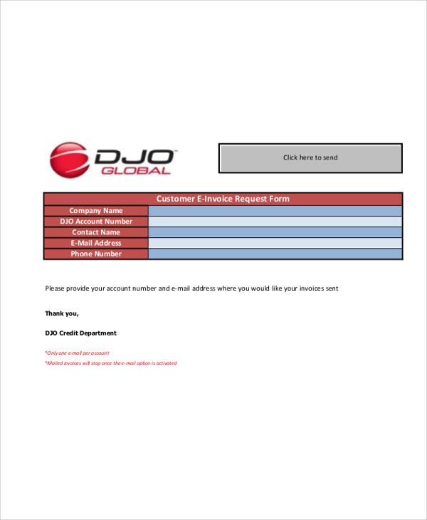 customer e invoice request form
