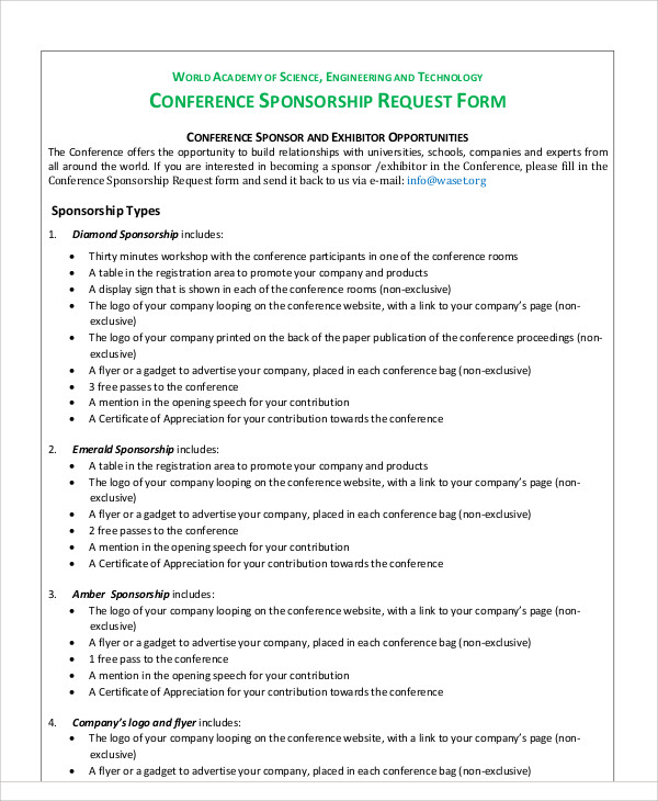 conference sponsorship request form