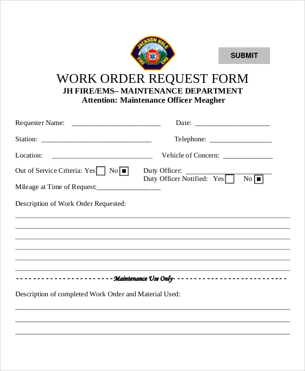 Sample Work Request Form