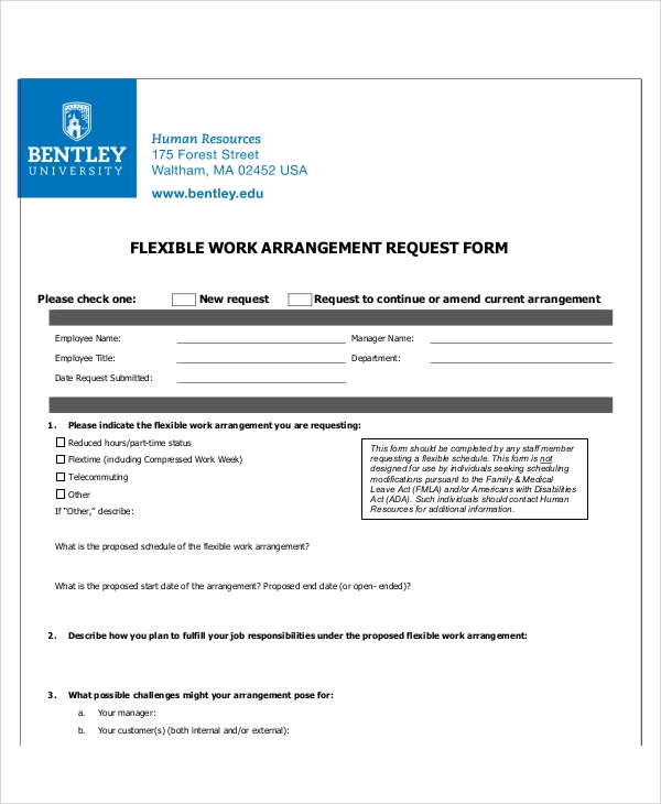 Flexible Work Request Form