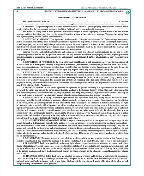 basic legal prenuptial agreement form