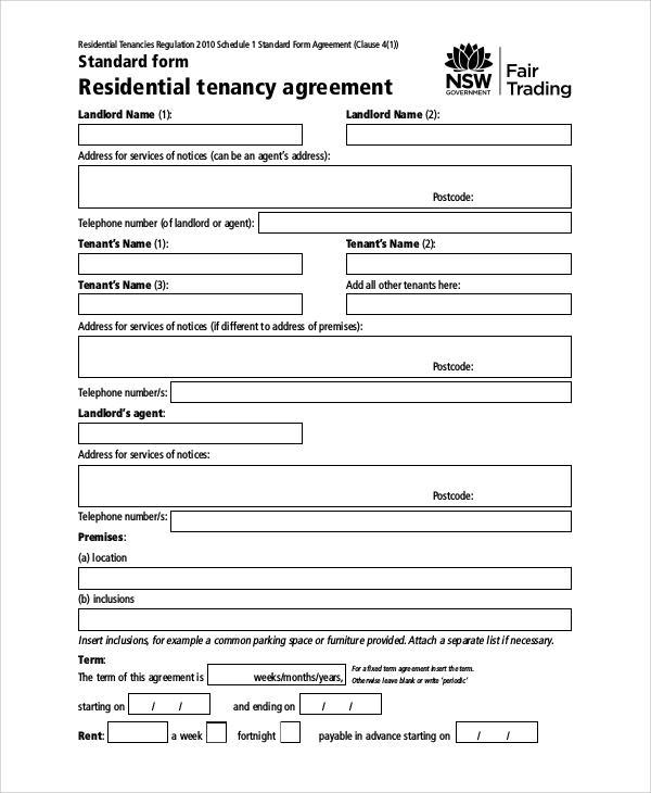 basic residential tenancy agreement