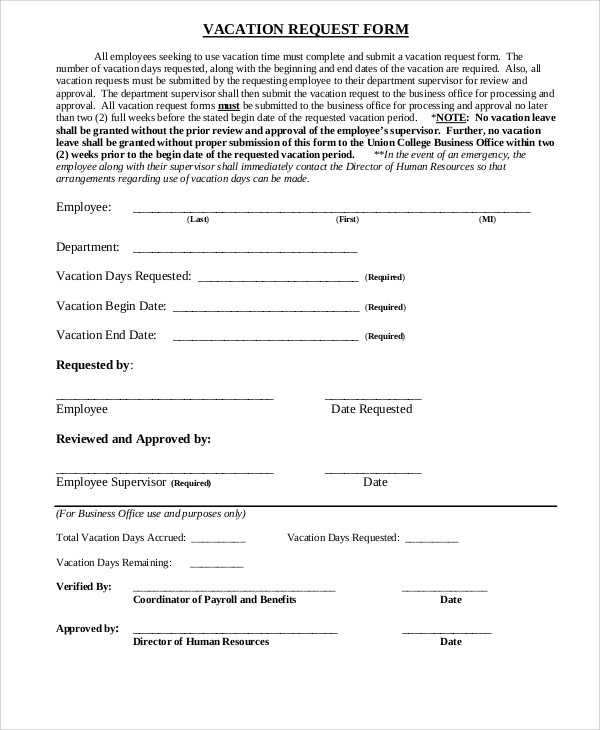 Sample Vacation Request Form  Free Sample Example Format