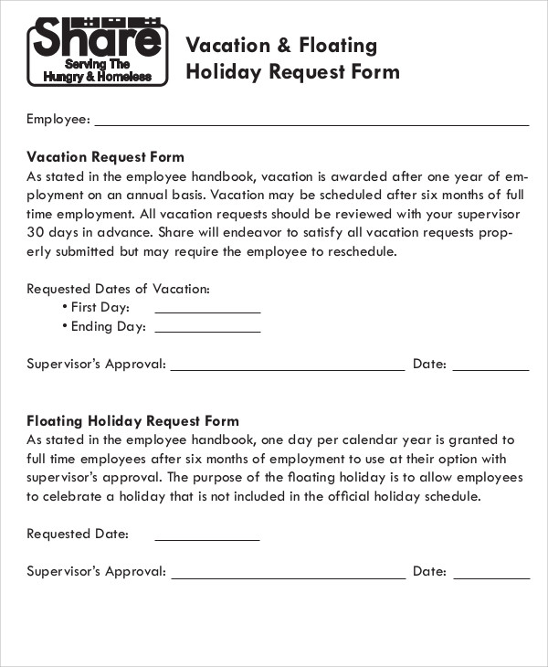 10 Sample Vacation Request Form Free Sample Example Format – Vacation Request Form